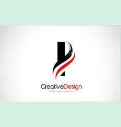 Red and black i letter design brush paint stroke vector