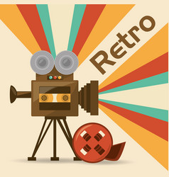 retro video camera short film vector image