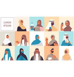 Set arabic women men in traditional clothes vector