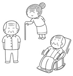 set of elder people vector image