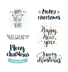Set of hand drawn Merry christmas and Happy new vector image
