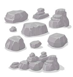 Set of stones rock elements different shapes vector image