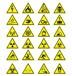 Set of triangle yellow warning signs vector