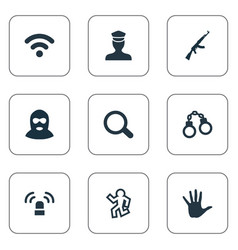 Set simple offense icons vector