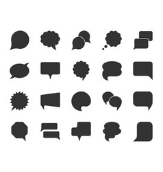Speech bubble black silhouette icons set vector