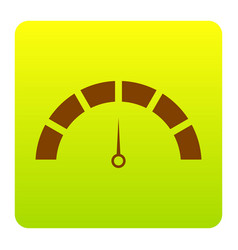 speedometer sign brown icon vector image