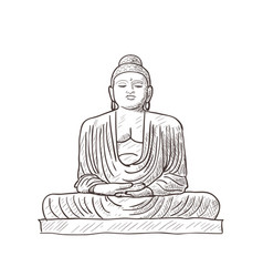 statue of buddha isolated sketch vector image