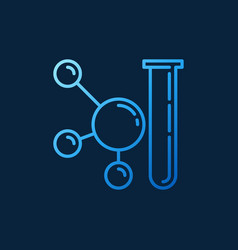 Test-tube and molecule blue line icon vector