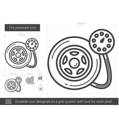 Tire pressure line icon vector