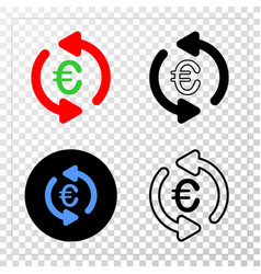 update euro eps icon with contour version vector image