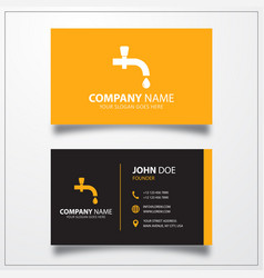 Water tap icon business card template vector