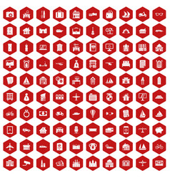 100 property icons hexagon red vector image vector image