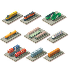 Isometric trains and cars vector image vector image