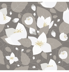 Seamless monochrome flower pattern vector image vector image