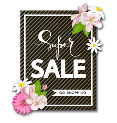 Super sale background with beautiful flowers vector