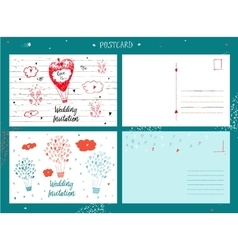 draw by hand wedding postcards vector image