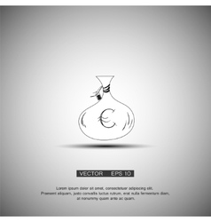 Money bag icon Euro EUR currency symbol Flat vector image