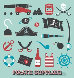 Pirate Supplies Silhouettes and Icons vector image