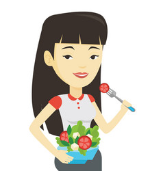 Woman eating healthy vegetable salad vector