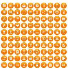 100 database icons set orange vector image