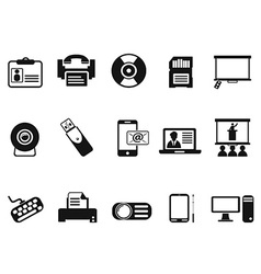 black office technology icons set vector image