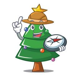 Explorer christmas tree character cartoon vector