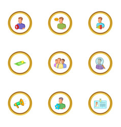 job search icons set cartoon style vector image
