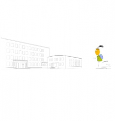 small girl go at school vector image