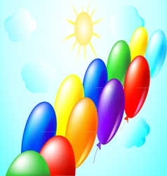 balloons sun and clouds vector image