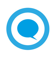 Blue symbol with chat bubble icon vector