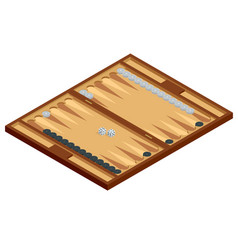 isometric wooden backgammon board with playing vector image
