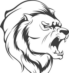 Lion Roaring Silhouette vector image vector image