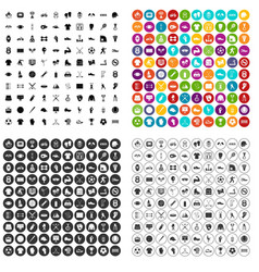 100 athlete icons set variant vector