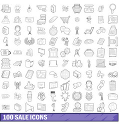 100 sale icons set outline style vector image
