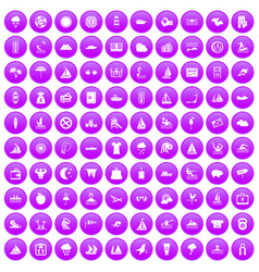 100 water sport icons set purple vector