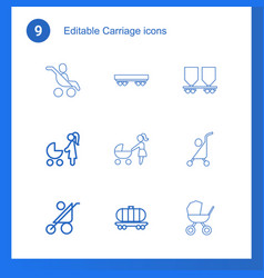 9 carriage icons vector image