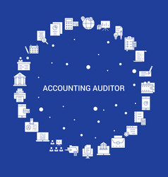 Accounting auditor icon set infographic template vector