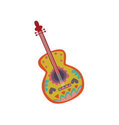 Acoustic guitar with mexican ornament cartoon vector
