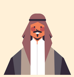arabic man in traditional clothes smiling arab guy vector image