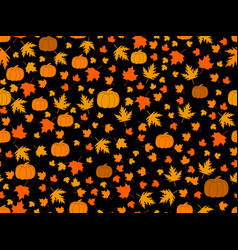 autumn seamless pattern with pumpkins and leaves vector image