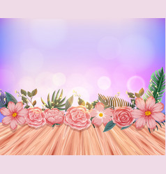 Background with pink roses and wooden floor vector