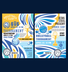 beach volleyball sport balls and trophy cup vector image
