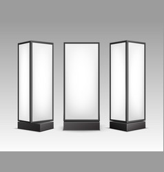 Black white luminous stands pillars front vector