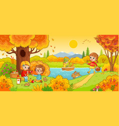 boys and girls on a picnic vector image