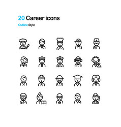 career icons vector image