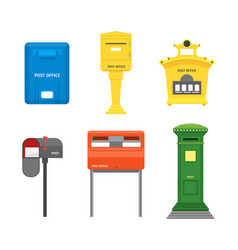 cartoon color mail box isolated set vector image