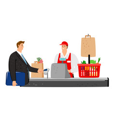 Cashier and buyer vector