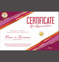 Certificate retro design template 16 vector