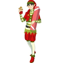 Christmas elf Asian boy with gift lineart vector image