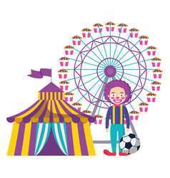 Circus tent with clown and wheel fortune vector